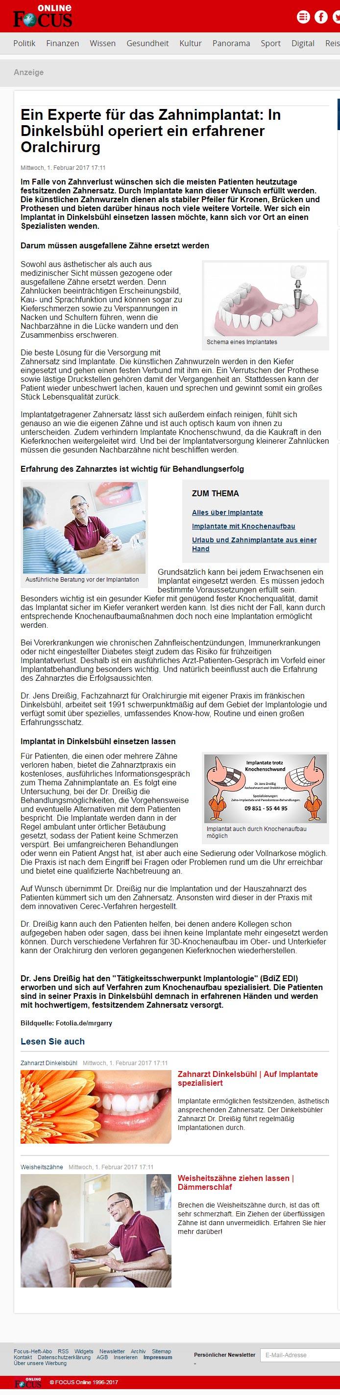 Medien artikel Focus oralchirurg lang