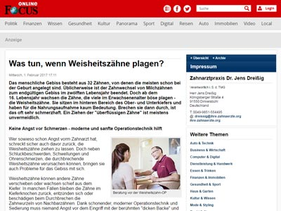 Medien artikel Focus weisheitszaehne
